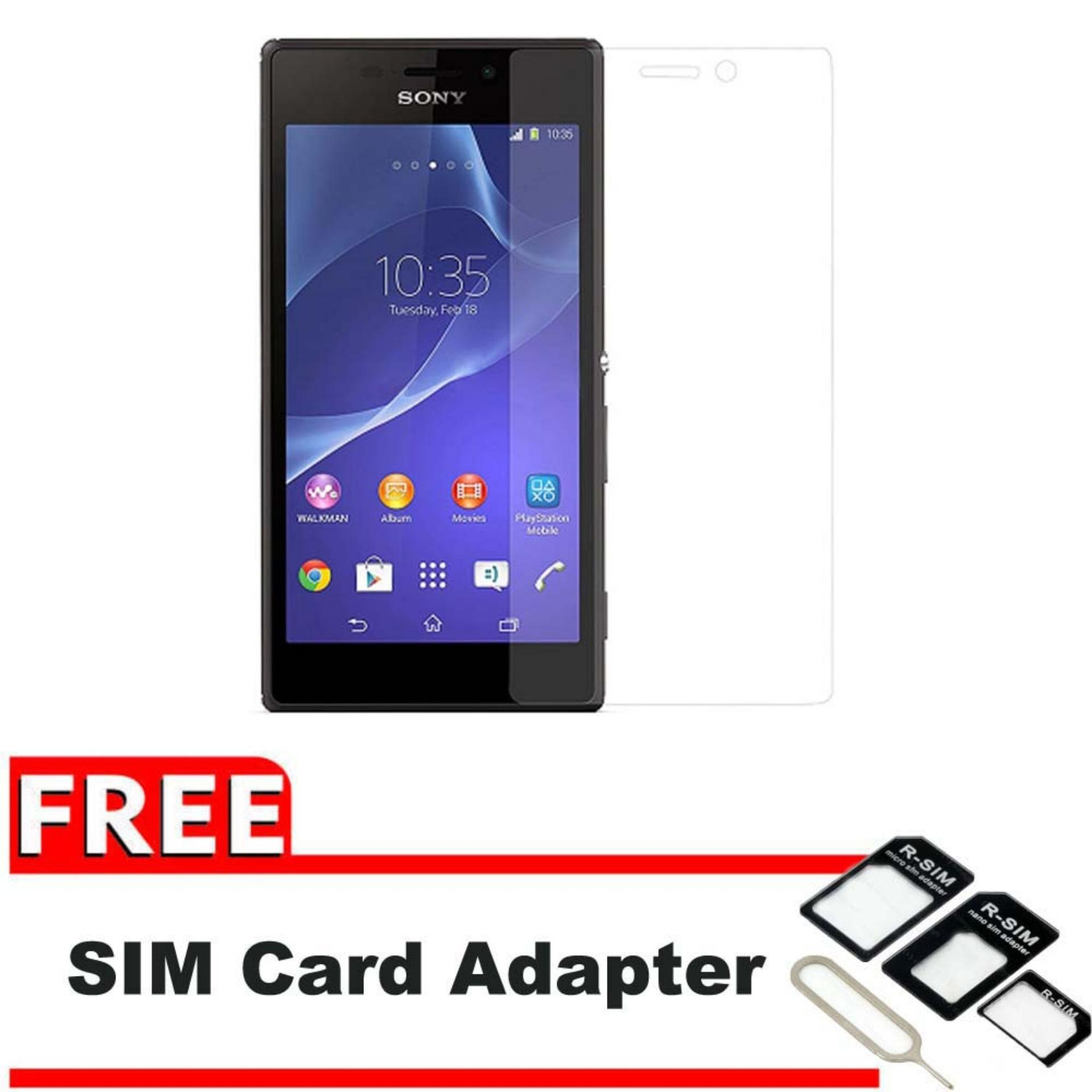 Vn Sony Experia Xperia M2 4 8″ Aqua Tempered Glass 9H Screen Protector 0 32mm Gratis Free Adapter OTG – Bening Transparan
