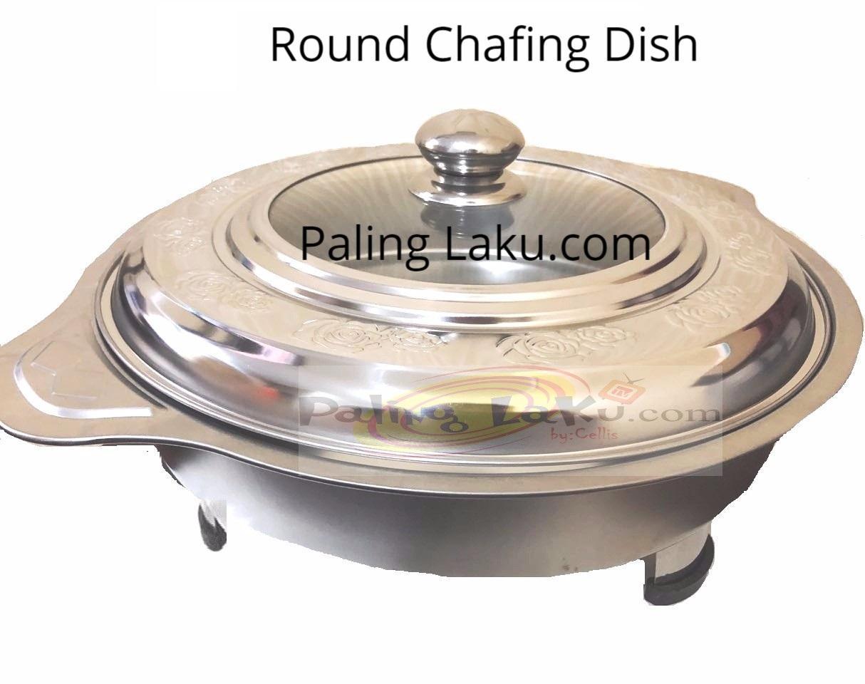 Paling Laku Prasmanan Bulat/ Round Chafing Dish+ Tutup Kaca By Paling Laku.