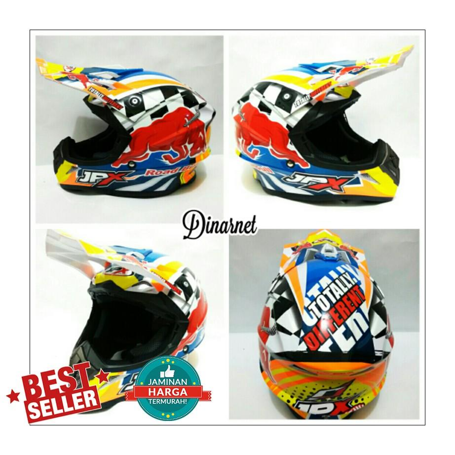 Helm Jpx Cross Fox1 Full Face Trail Trabas X8 Red Bull White