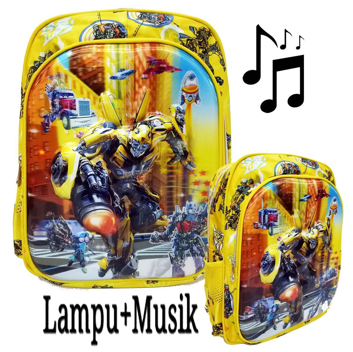 Onlan Tas Anak Sekolah SD LAMPU + MUSIC Karakter Transformers Bumble Bee 5D Timbul Hologram Import