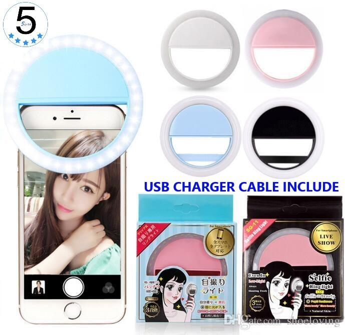 Lampu Selfie Ring Clip-On 36 Led Style Limited Edition Import 5star - Selfie Light With Charger Portable - Tersedia 4 Warna By 5 Star.