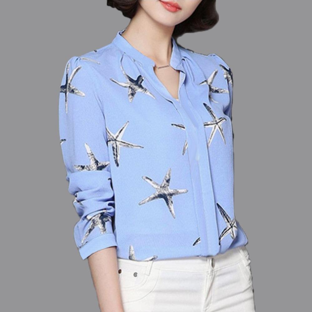 Jfashion Blus  Gaya Korea  tangan panjang Print leher V - Suryani Print LS