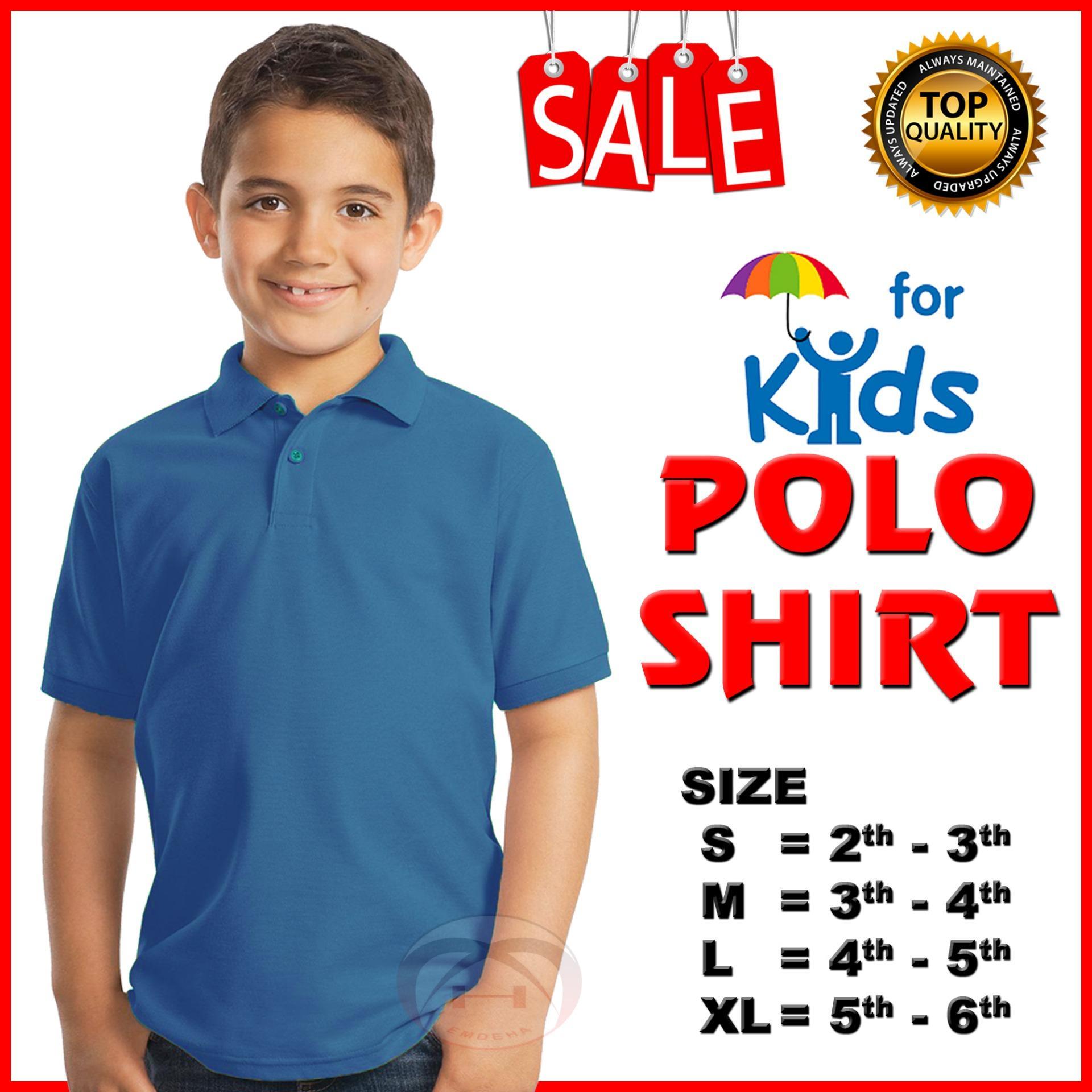 Emdeha Store - Kaos Kerah Polo Shirt Anak-Anak Polos Cotton Pique Usia 2 hingga 6 tahun