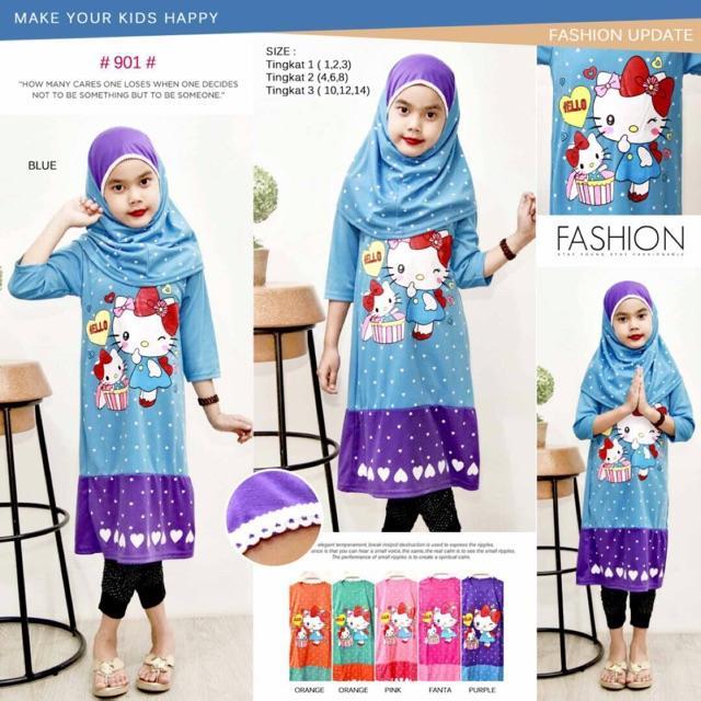 Hijab Dress Hello Kitty Ukuran 4-6-8(Size M Untuk Anak Umur 5Thn-6Thn) Bahan Spandex Hijab N Apliks