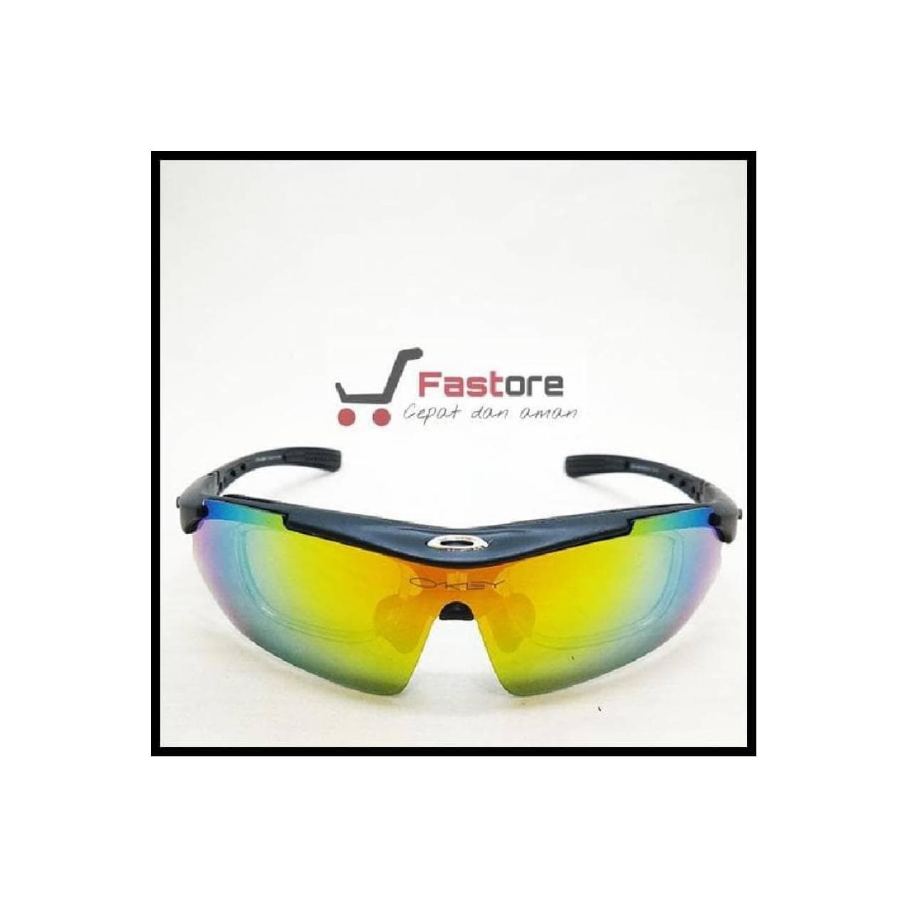 (Promo!) Kacamata Sport Oakley Quantum 5 Lensa - Gowes Sepeda Motor