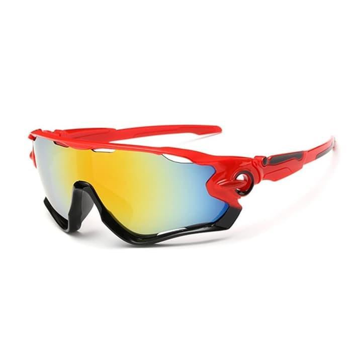 PROMO [2066] Kacamata Sepeda Anti UV400 Lensa Pelangi Frame Merah MURAH