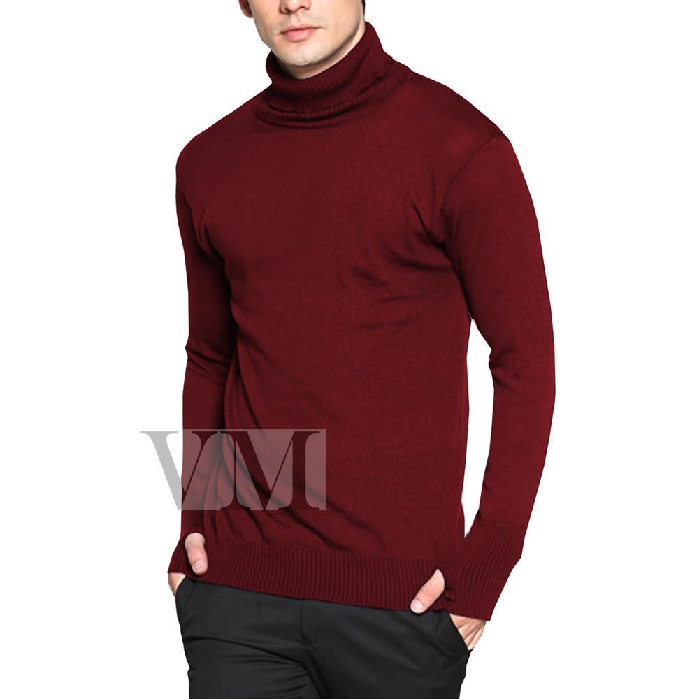 Sweater Pria Lengkap Termodis Rajut Ariel Dengan Hoodie Banyak Warna Vm Polos Panjang Krah Tinggi Merah Maroon