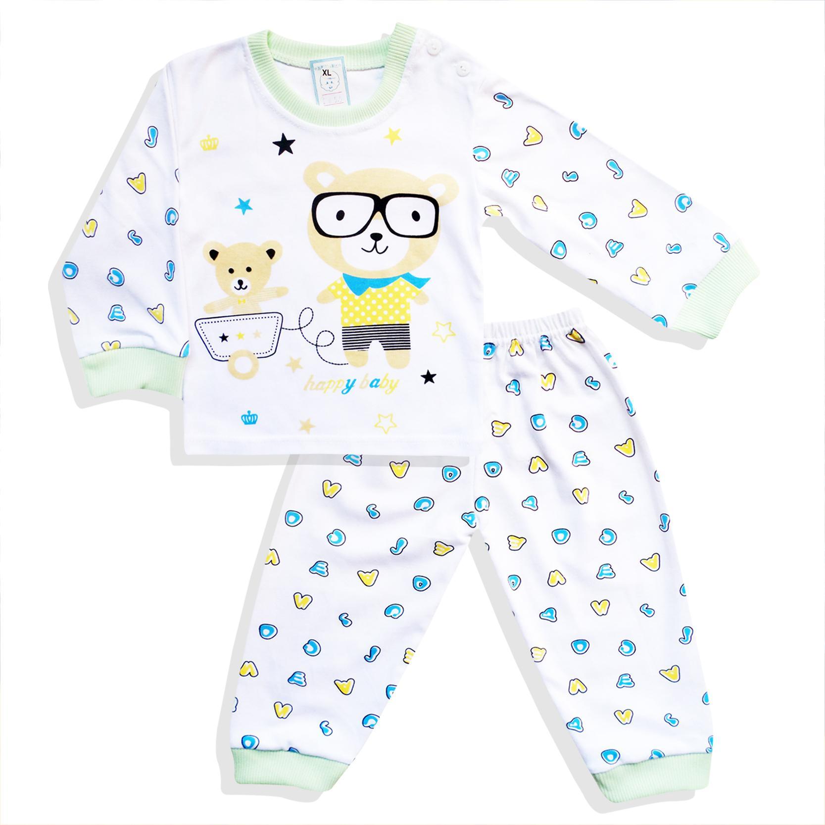 Skabe Baby Putih Piyama Anak Setelan Baju Tidur Tangan Panjang Anak Bayi Laki Laki 2655
