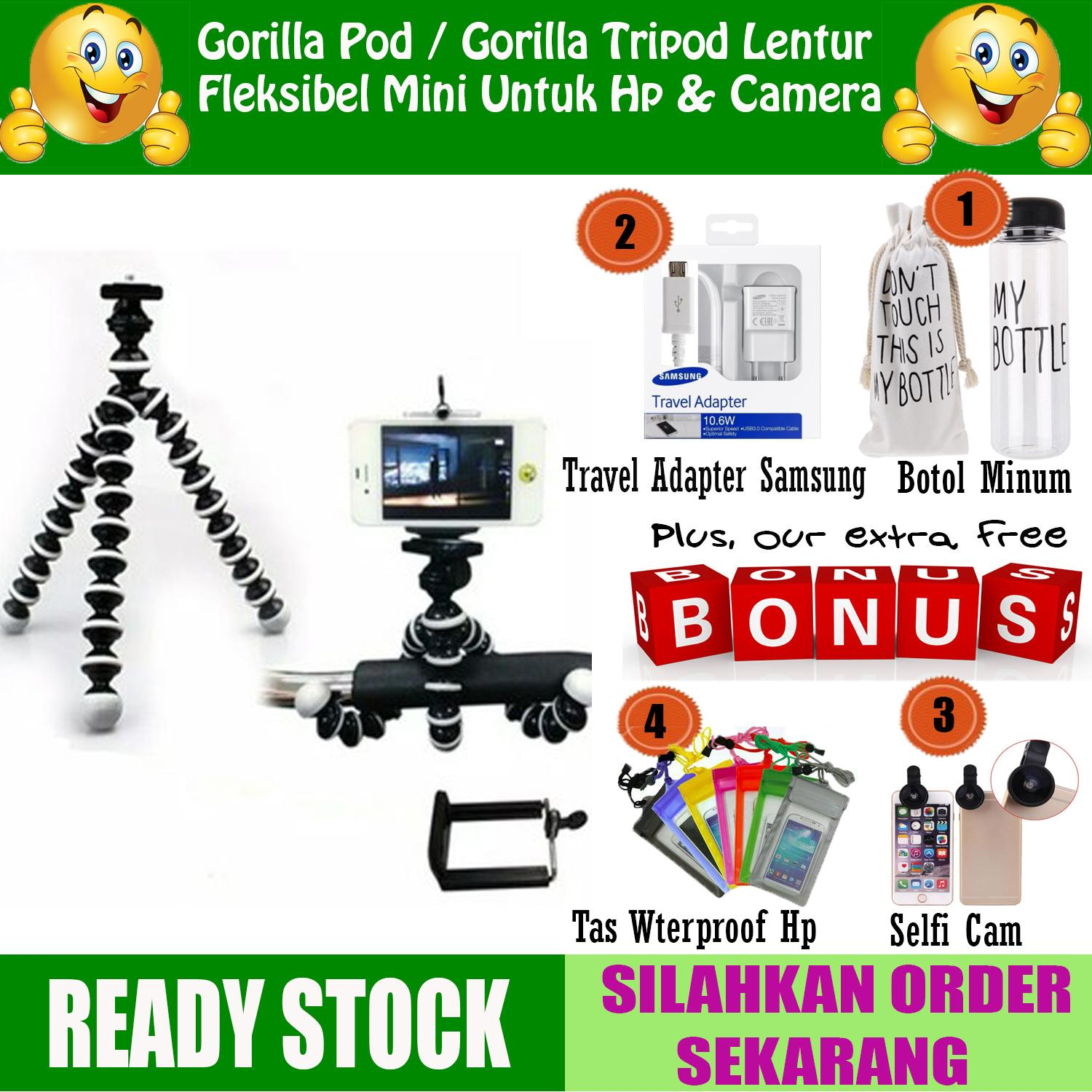 Gorilla Pod / Gorila Tripod-Tripod Lentur Fleksibel Mini Untuk HP Kamera dan Action Cam + GRATIS Travel Adapter Samsung + Botol Minum + Tas Waterproof Hp + Selfi Cam