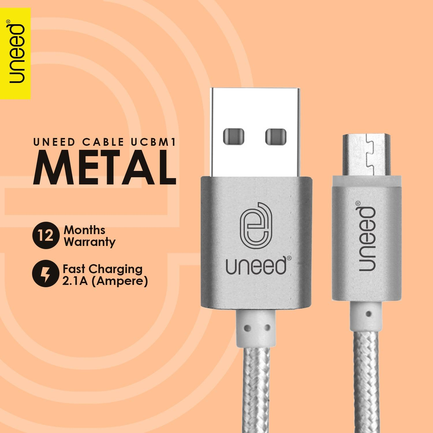 UNEED Nylon Kabel Data Micro USB Metal Quick Charge Fast Charging 2.1A - Original - Silver