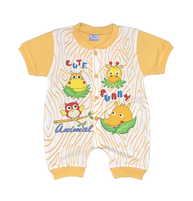 BAYIe -  Baju Bayi model Jumper lengan Pendek  motif ANIMAL FINACO usia 6 - 12 bulan 100% katun/pakaian Jumsuit bayi /baju bayi new born