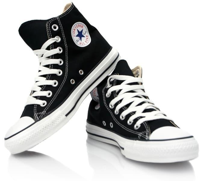Sepatu Sneakers All Star  HITAM  Pria + box free kaos kaki 2664f6ae0e