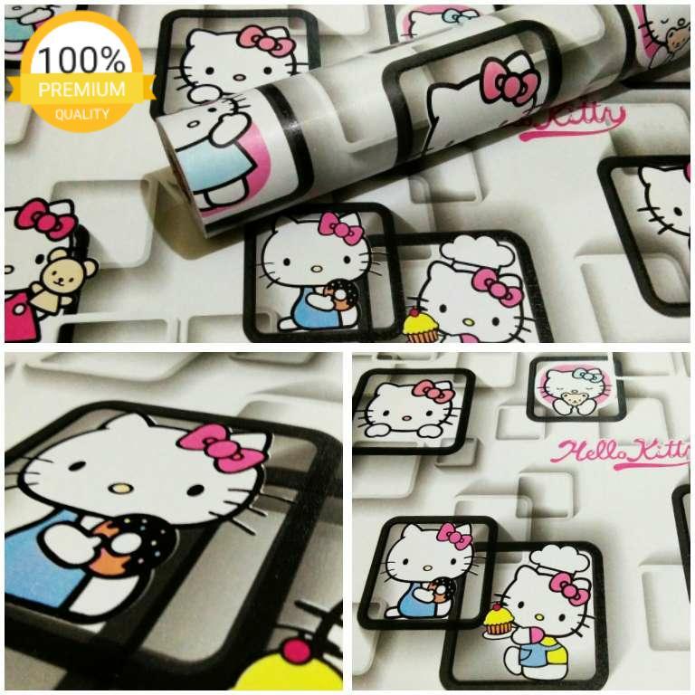 Grosir murah wallpaper sticker dinding kamar ruang indah putih kartun anak hello kitty pigura hitam