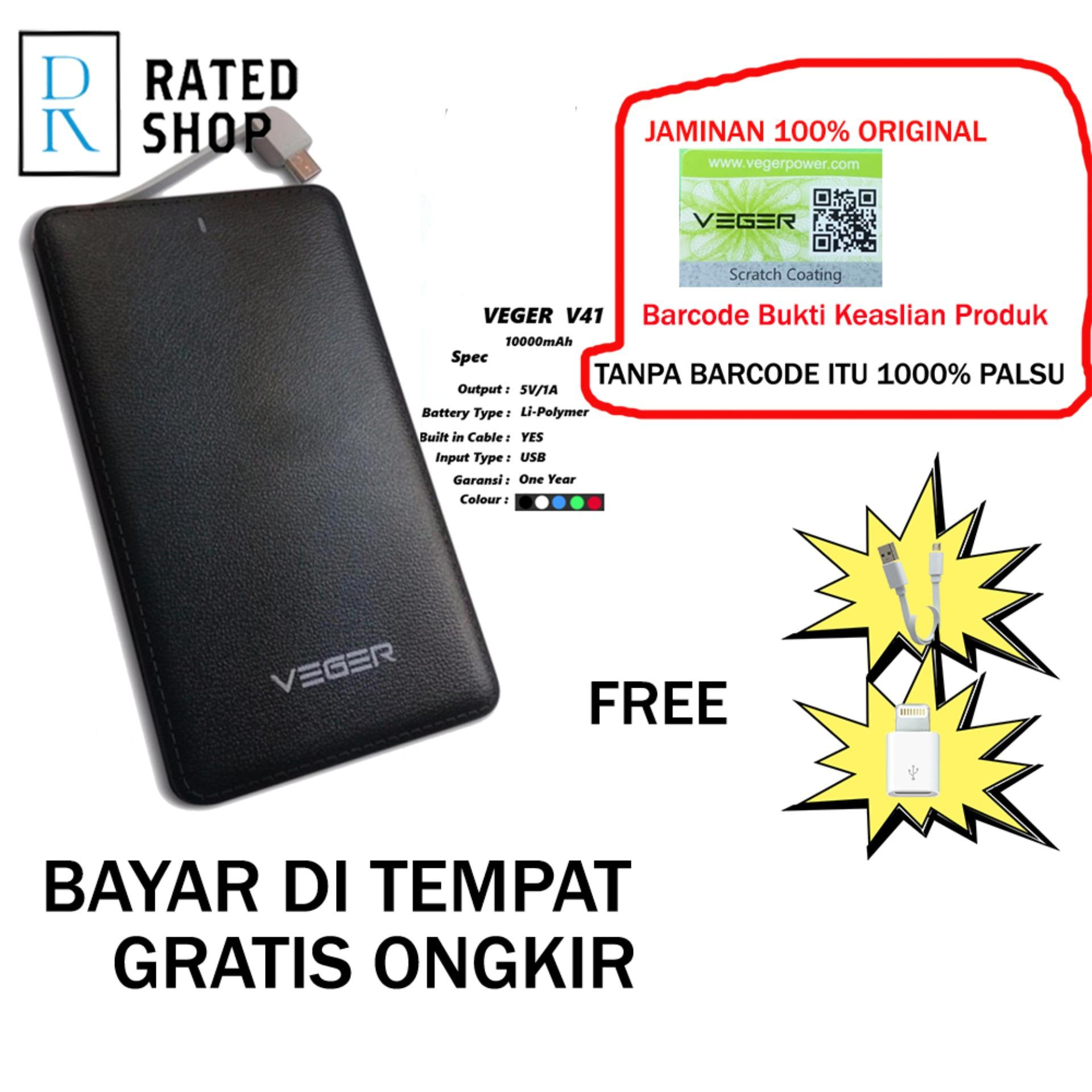 Veger V41 Power Bank Slim 10000mah - Hitam
