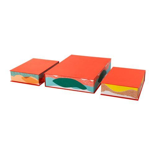 PROMO!! IKEA HEJSAN Kotak file, set isi 3, oranye, aneka warna MURAH /  BUBBLE 3 LAPIS / ORIGINAL / IKEA ORIGINAL