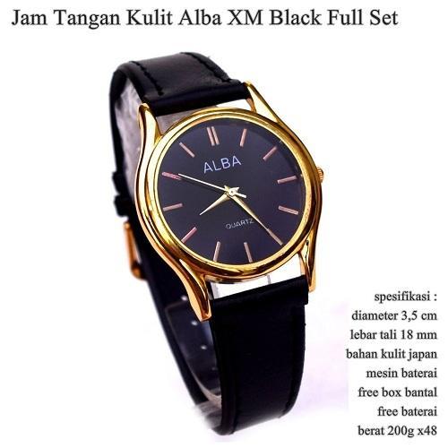 Jam tangan kulit ALBA orisinil premium hitam