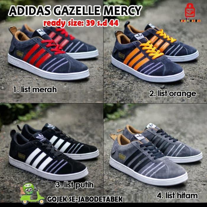 sepatu sneakers adidas gazelle pria casual suede hitam abu maroon navy -  List Merah 6b1fe00d36