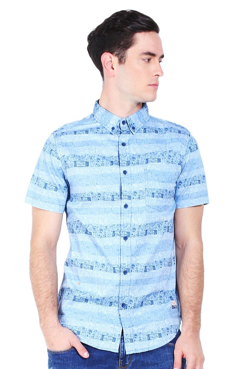 3 second Pakaian Atasan Kemeja Pria MEN SHIRT BLUE