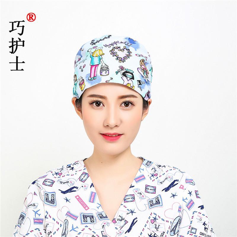 Qiao Topi Perawat Katun Cetak Topi Bedah Kartun Bajak Laut