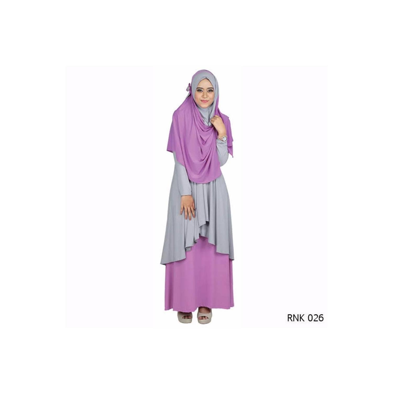 jual Gamis Muslim Wanita Warna Pink Abu Bahan Jersey