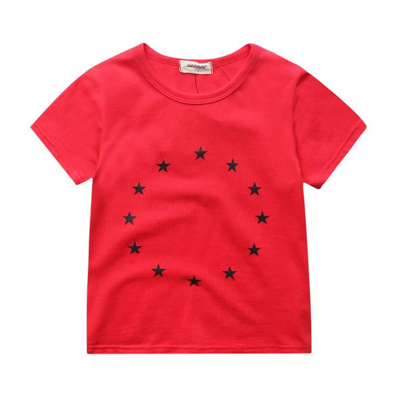 Disisir Kapas Bayi Children Kemeja Setengah Lengan Gaya Korea dari Lengan Pendek Kaus (17dx Bulat Bintang Merah)