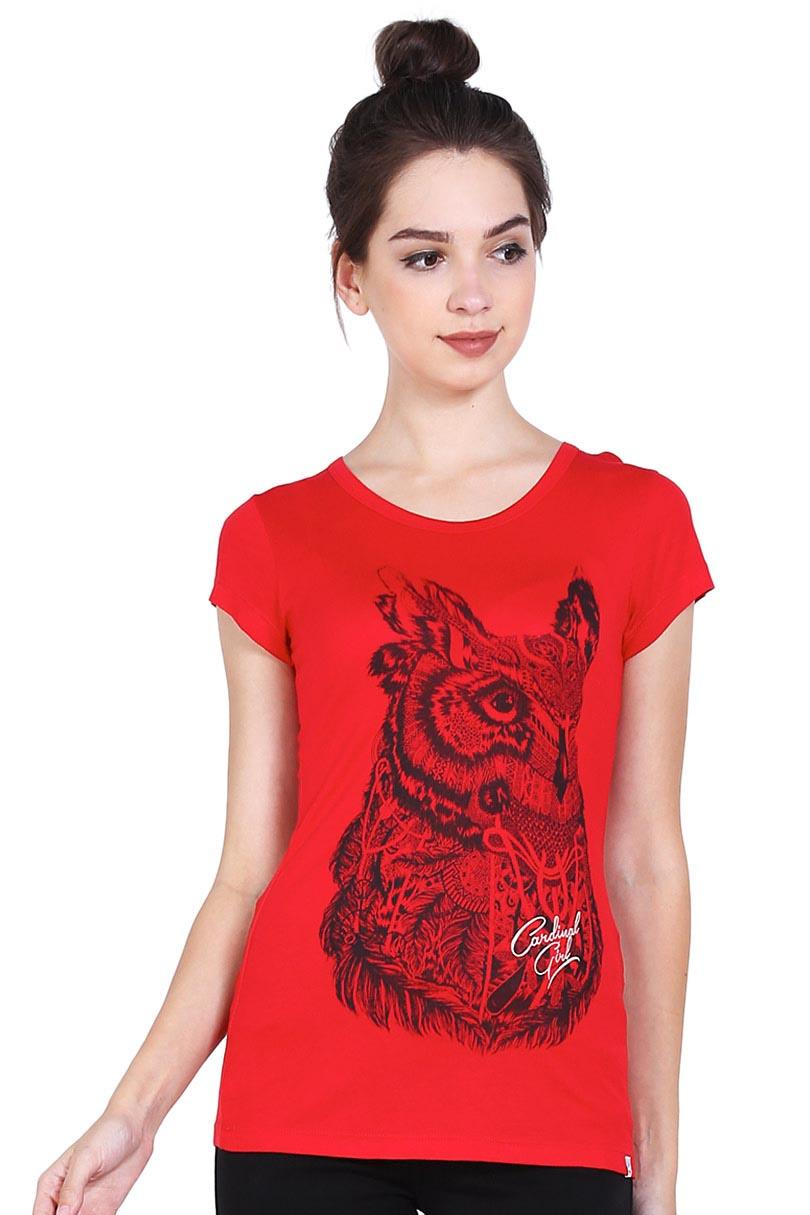 Cardinal Girl Fashion Pakaian T-Shirt Wanita T-shirt EIT6454P.11 Red
