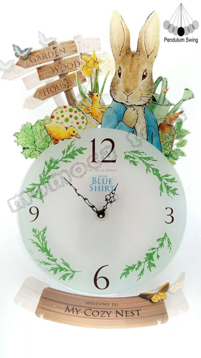 jam dinding peter rabbit swing custom nama lucu unik