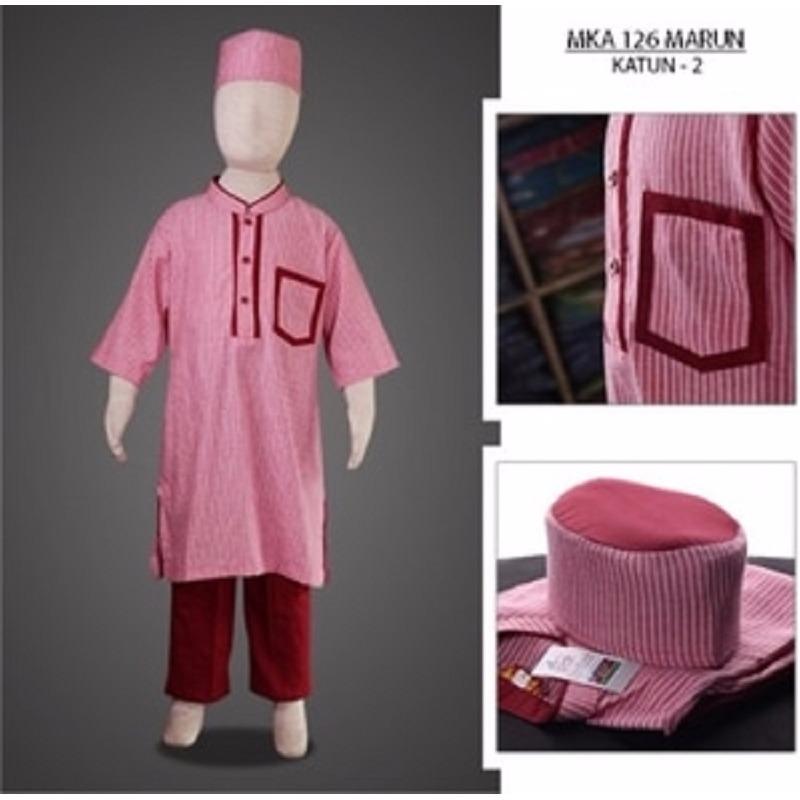 MKA126Marun(11-13tahun) baju koko anak eksklusif elegan