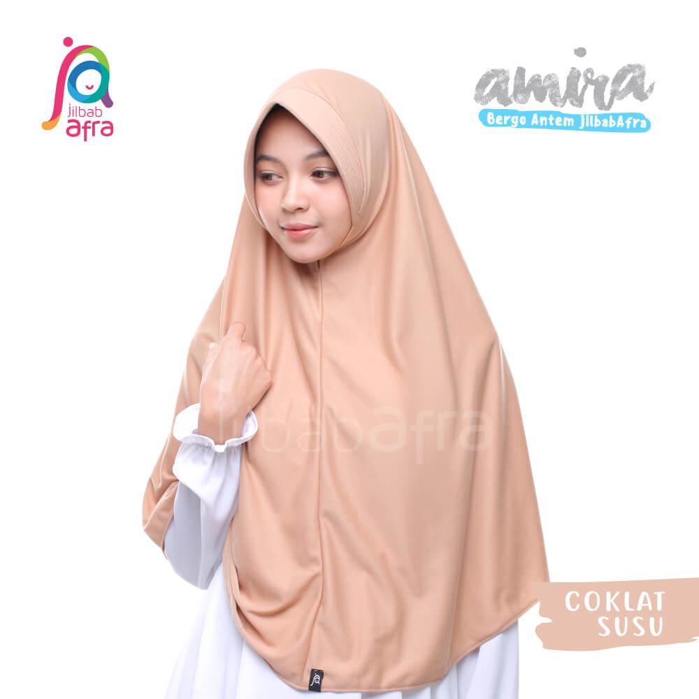 Jilbab Amira 07 Coklat Susu - Bergo Pet Antem - Jilbab Afra - Hijab Instan Bahan Kaos, Adem & Lembut