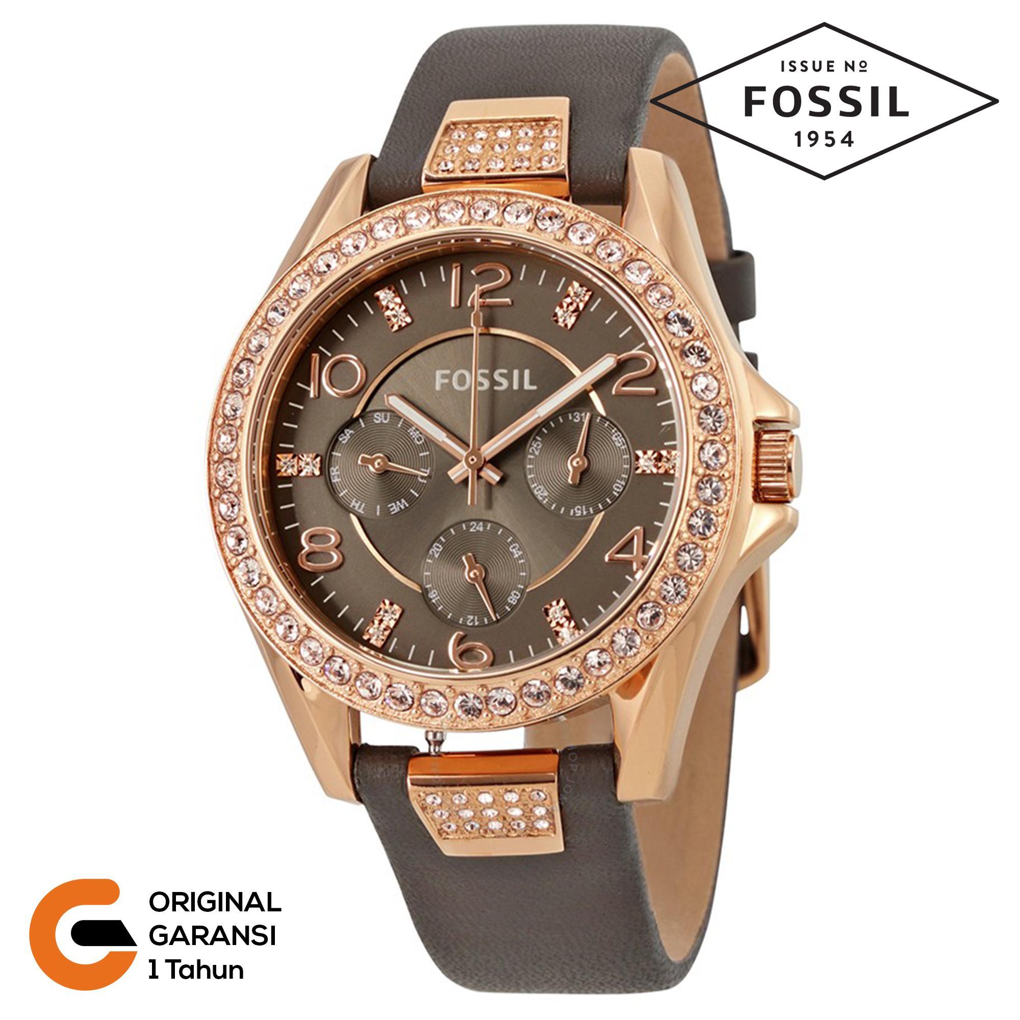 Jam Tangan Fossil Wanita Original Es3712 Analog Tali Kulit Leather Strap Quartz Movement Es3887 Es3888