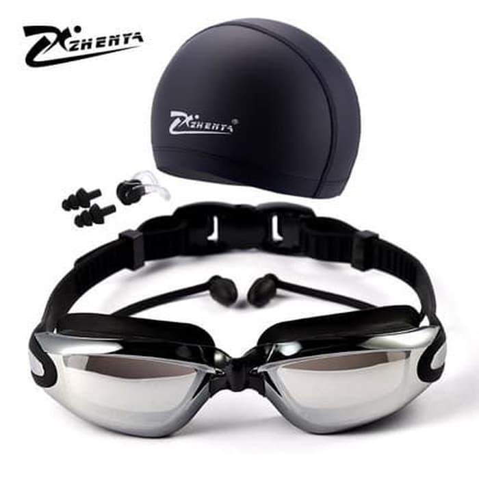 Kacamata renang paket topi renang DAN TUTUP TELING merk zhenya very good  quality 462a570274