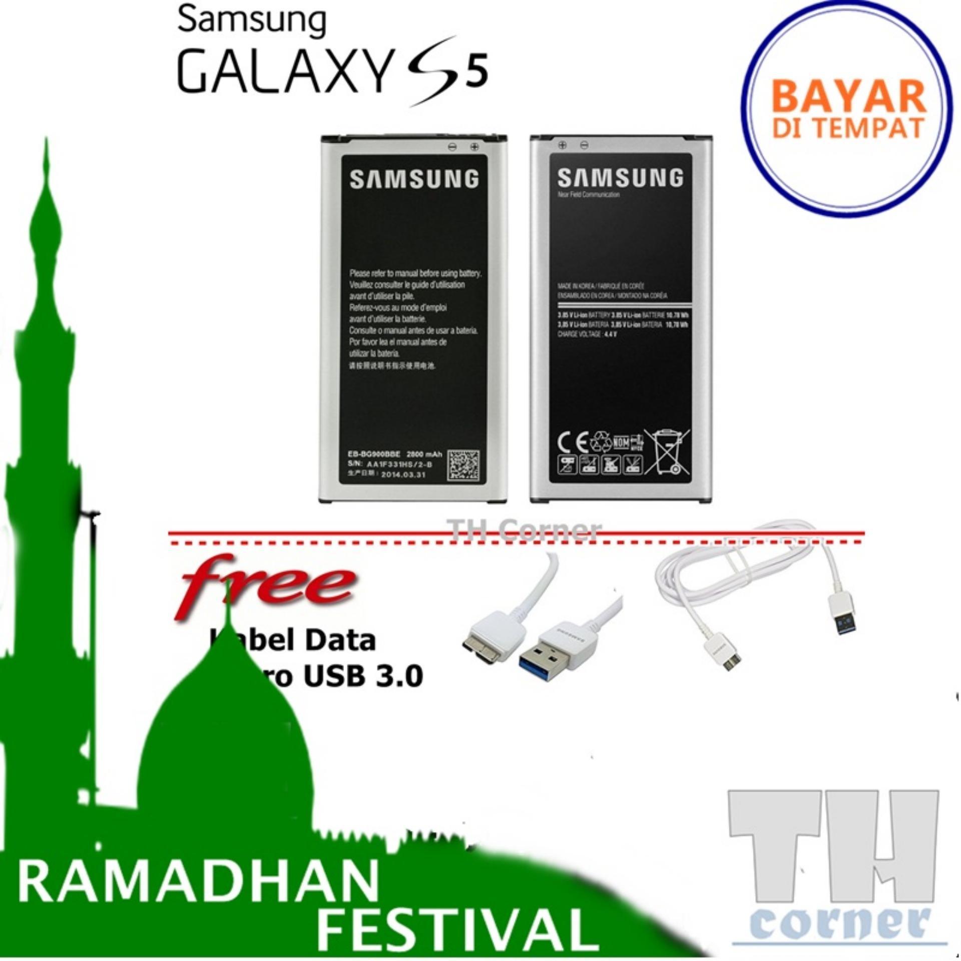 Samsung Original baterai for Galaxy S5 G900 + free Kabel data Micro USB 3.0