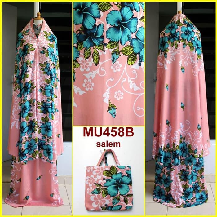 Mukena Bali Motif Bunga Sepatu Semi Jumbo - MU458B (Salem)