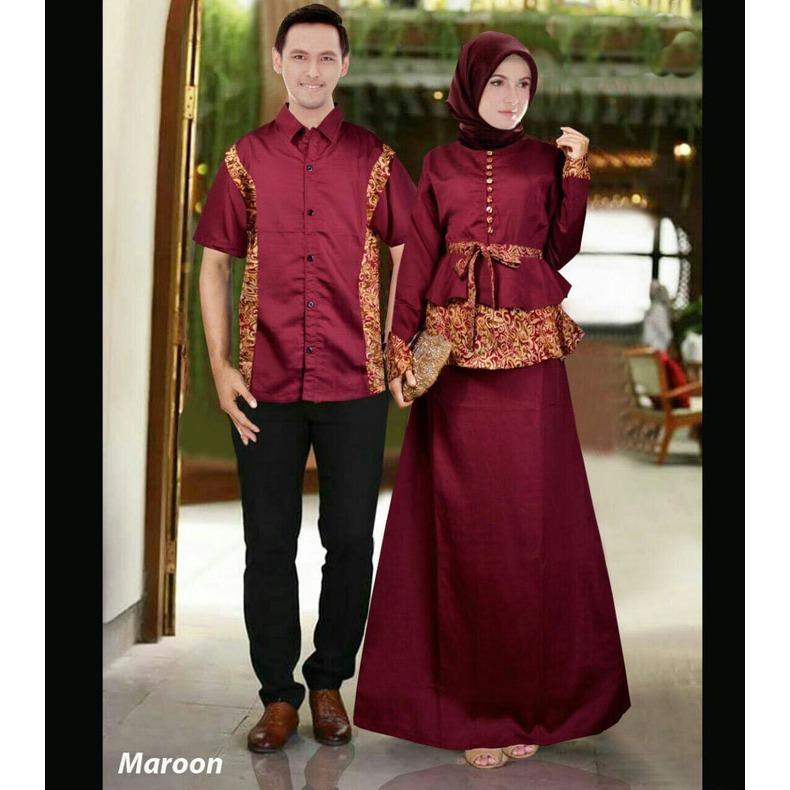 Kenzmal Maxi Gamis Dress Muslim Batik Couple Pasangan Tatiana Untuk Pesta - Tersedia 3 warna
