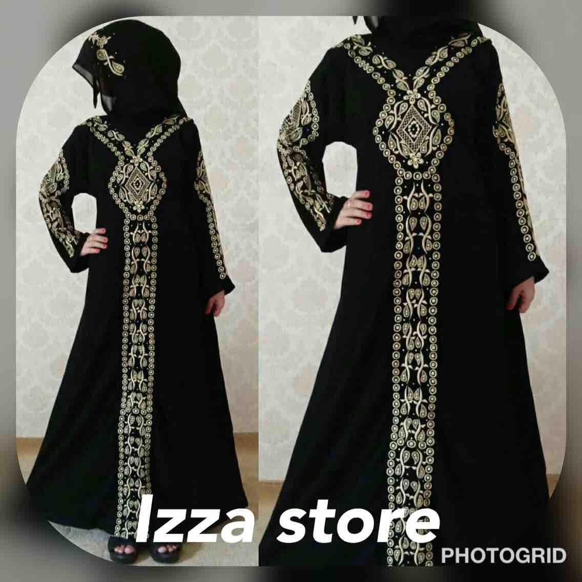 Gamis abaya arab hitam / bordil tengah