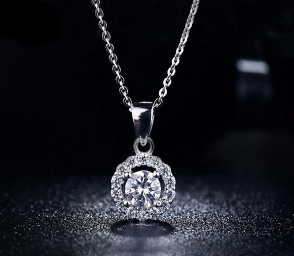 Diskon Promo Perhiasan Aksesoris Kalung Emas Putih Pendant CZ Bulat Berlian Imitasi Wanita BN028 Murah
