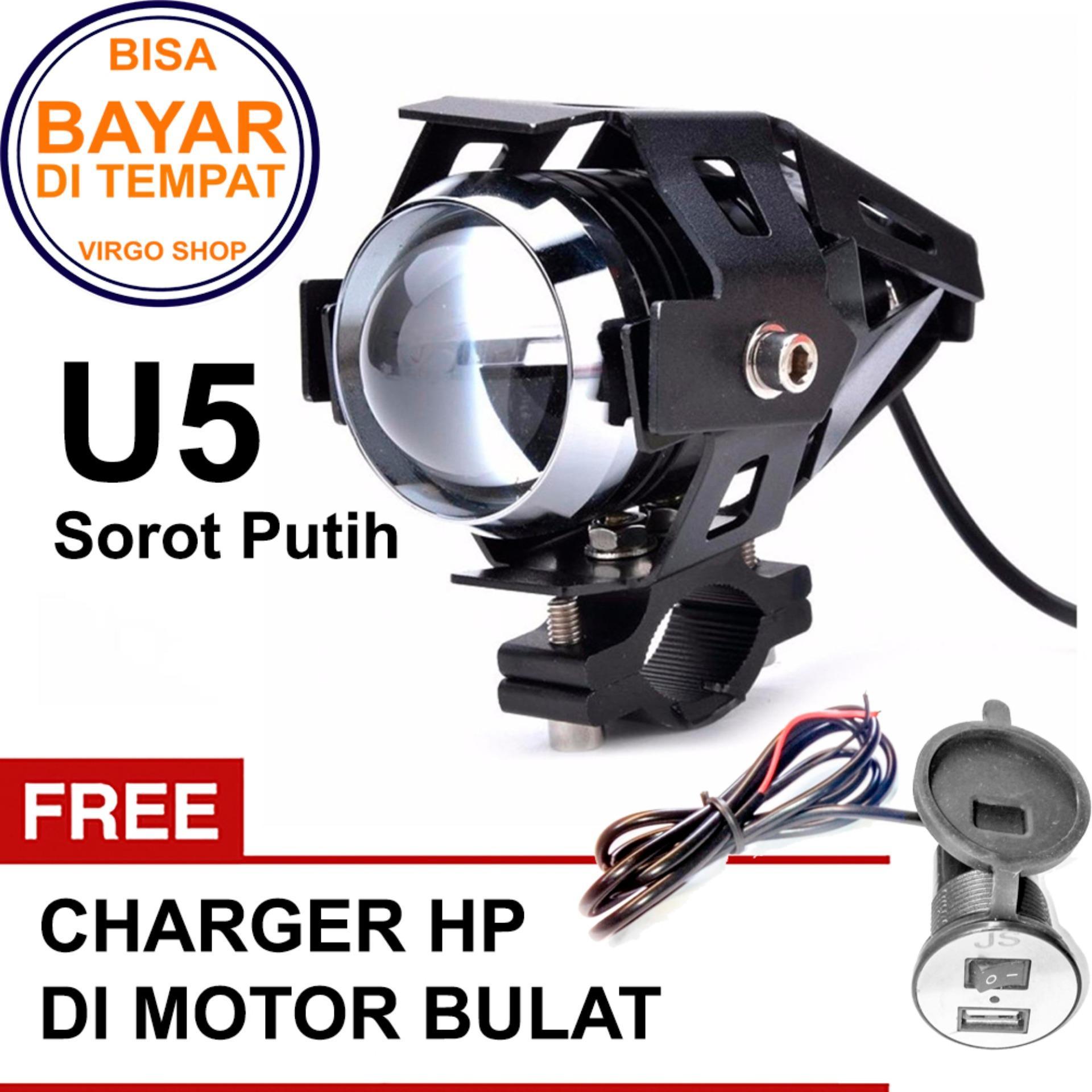 Lampu Sorot Tembak Led Cree U5 Transformer Light Motor Sorot Putih Bonus USB Charger Bulat