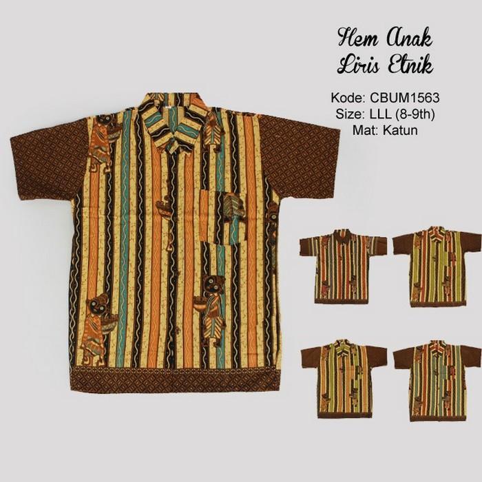 Mila Style - Baju Kemeja Batik Anak Katun Liris Etnik Size LLL  CBUM1563M1 - Multicolor
