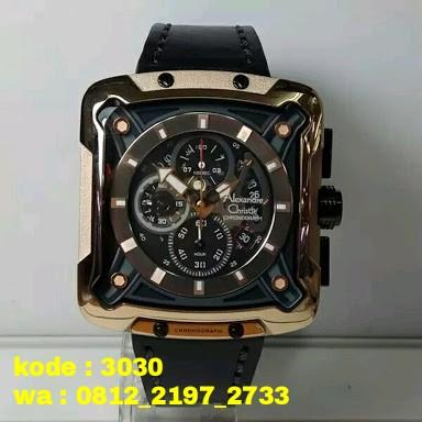 Jam Tangan Alexandre Christie AC 3030 Pria Chronograph Rosgold Brown