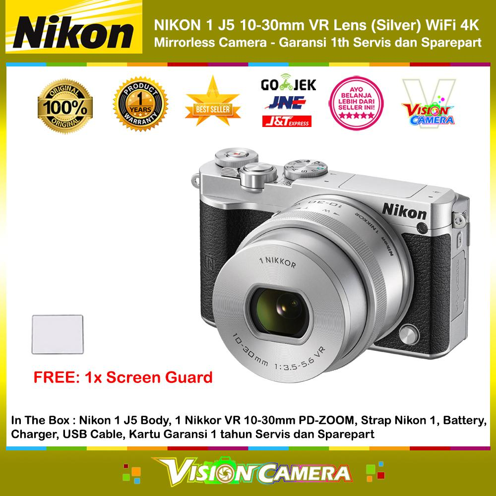 NIKON 1 J5 10-30mm VR Lens Silver WiFi 4K Mirrorless Camera Garansi Resmi 1th + Screen Guard