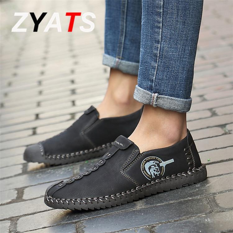 Zyats Sepatu Datar Kulit Pria Kasual Loafer Ukuran Besar 38-46