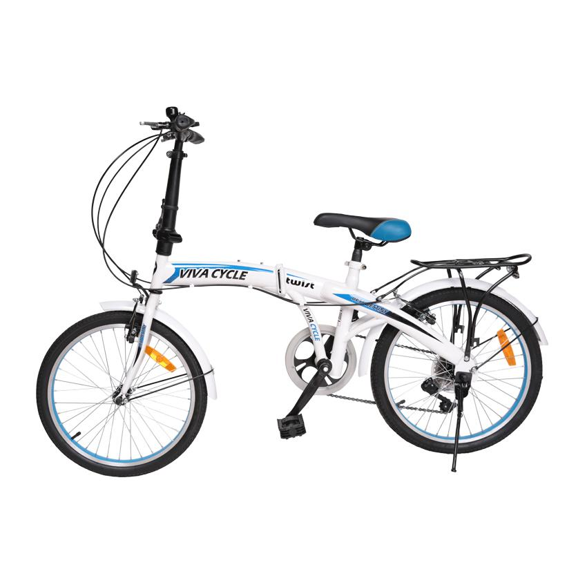 Viva Cycle Twist Y3110 Hi-Ten Folding 7sp Sepeda Lipat 20' - Putih/Biru/Glossy (JABODETABEK Only)