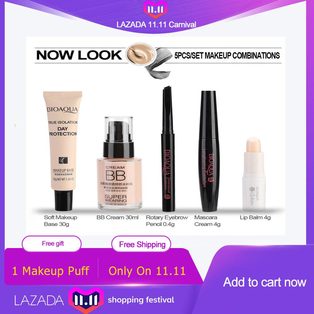 [1 Hadiah] Bioaqua Kosmetik Makeup Set untuk Pemula Bibir Balsem BB Krim Pensil Alis