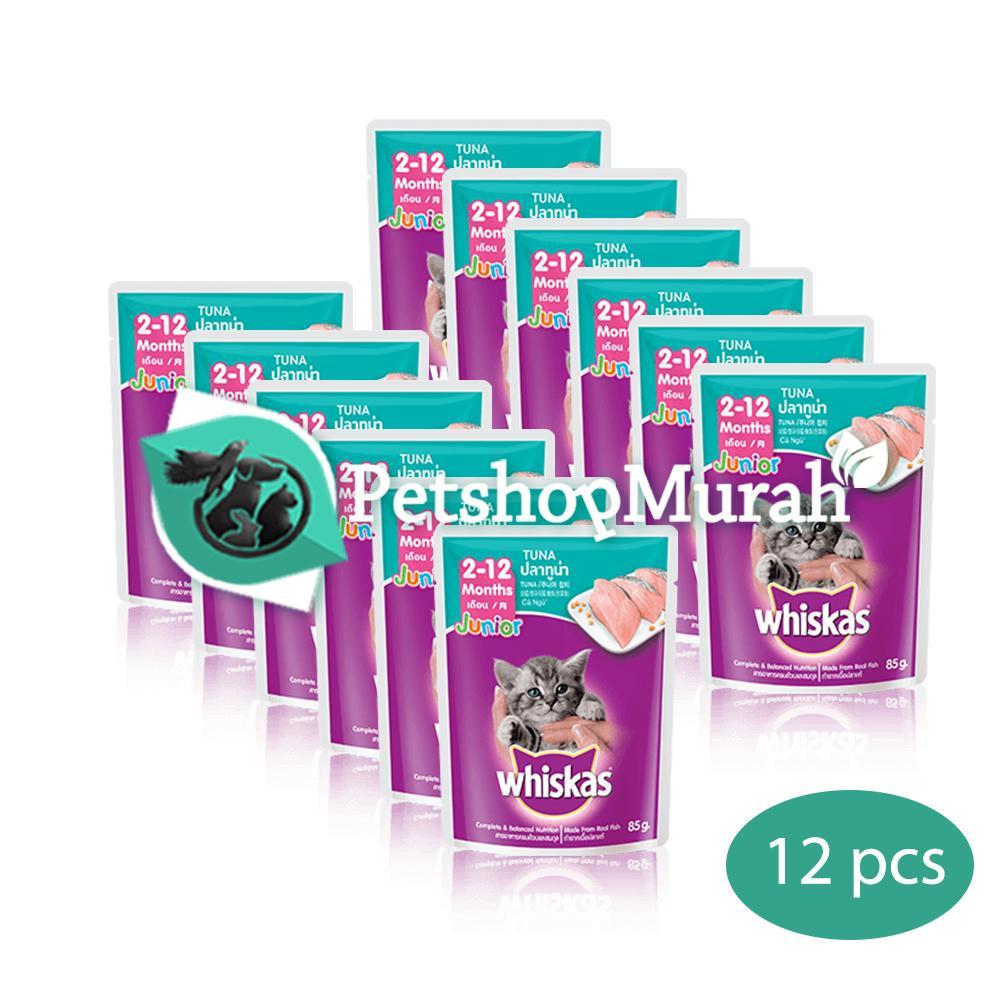 Makanan Kucing Whiskas Junior Tuna 85 gram / Whiskas Kitten Pouch / Sachet 85gram 12 pcs