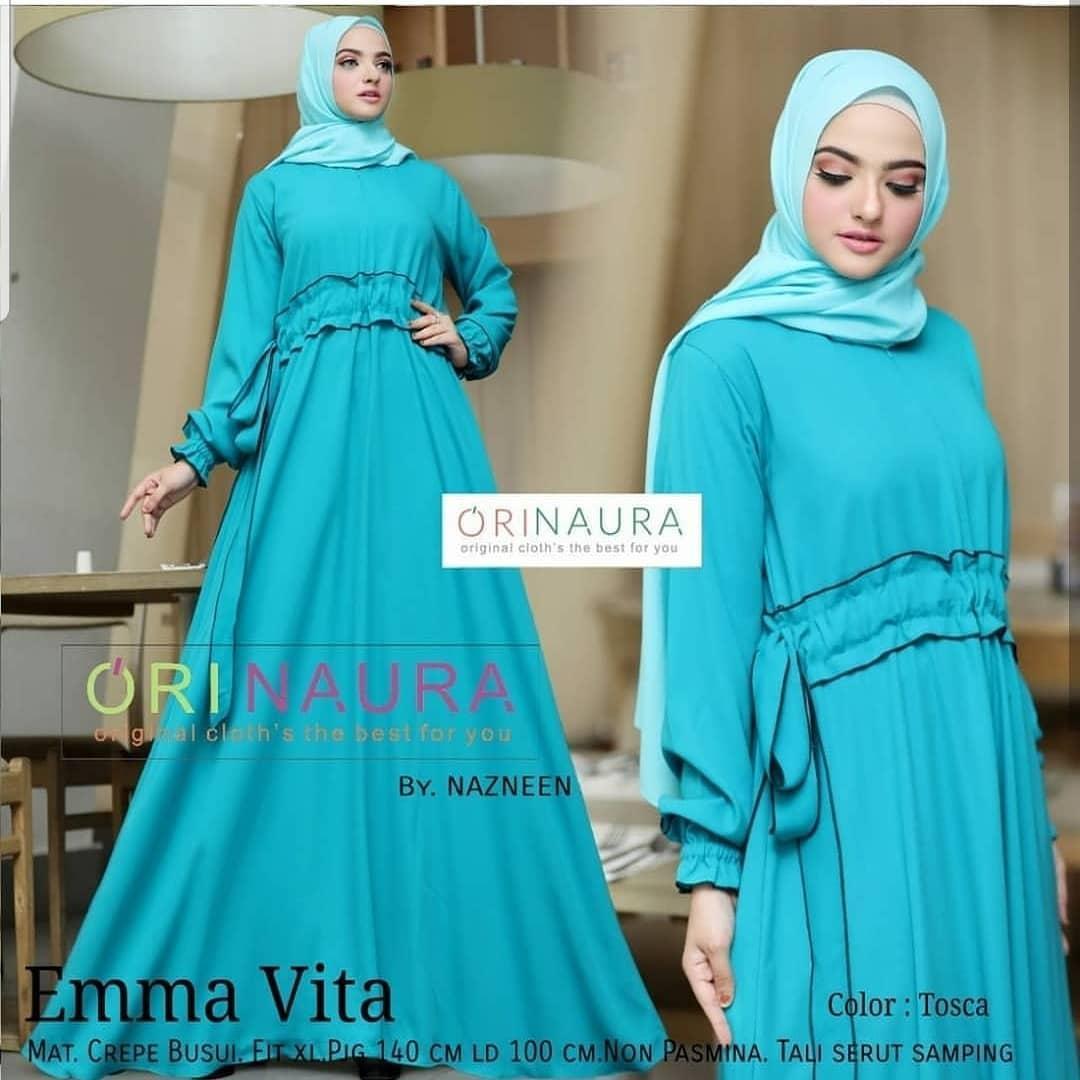 Buy Sell Cheapest Baju Gamis Emma Best Quality Product Deals Maxi 23 Muslim Wanita Gamia Model Kekinian Vita Dress