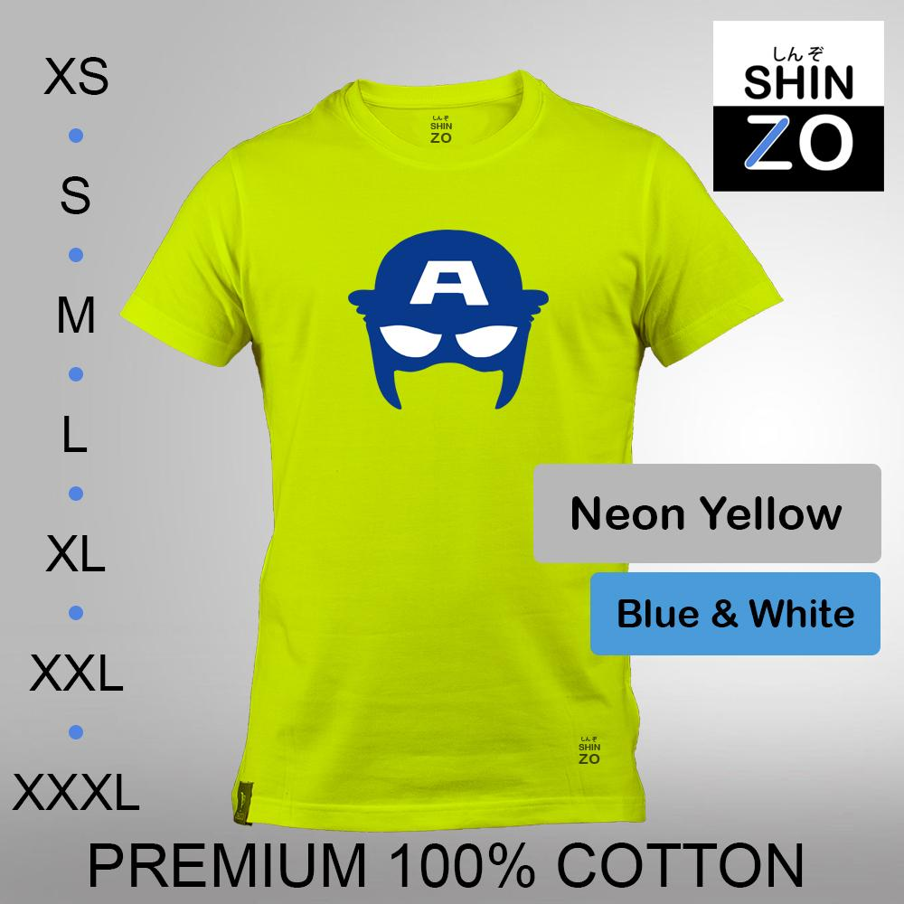 Shinzo Design - Kaos Oblong Distro T Shirt Tee Casual Fashion Atasan Cloth Anime Custom - Premium Cotton Combed 30s Ring Spun Export Quality - Pria - The Avengers Infinity War Captain America Civil War - Neon Yellow Neon Kuning
