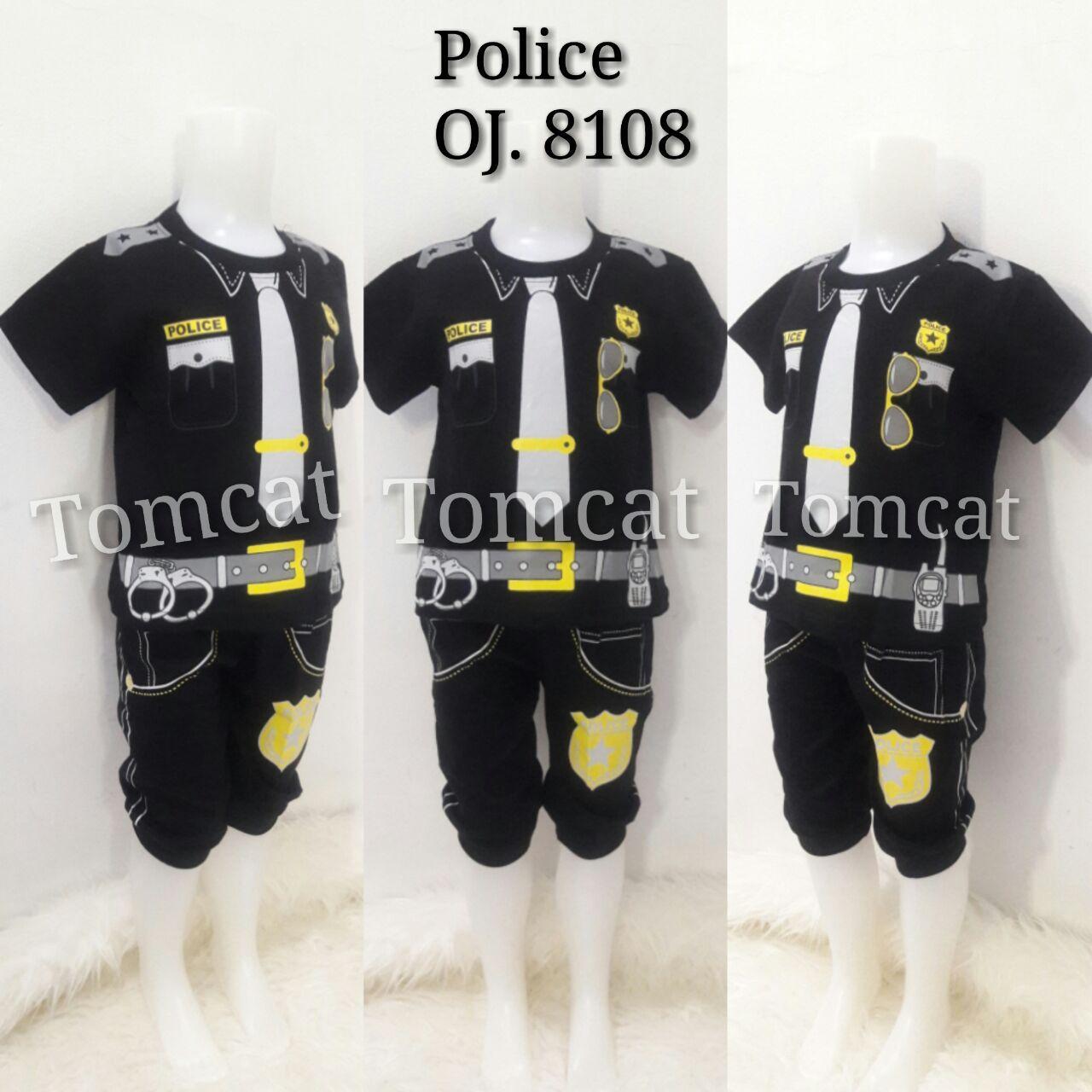Baju Profesi Anak Polisi Hitam Setelan Kaos Joger