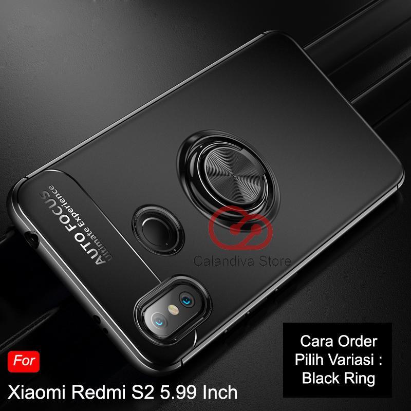 Calandiva Soft Case Xiaomi Redmi S2 (5.99 Inch) Casing Ultimate Ring Kickstand Hybrid Premium