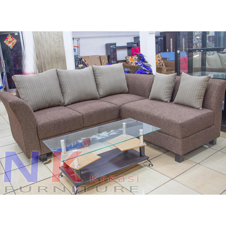 Sofa Kursi Ruang Tamu L putus Minimalis, sofa sudut Elegan + MEJA TAMU - JABODETABEK ONLY