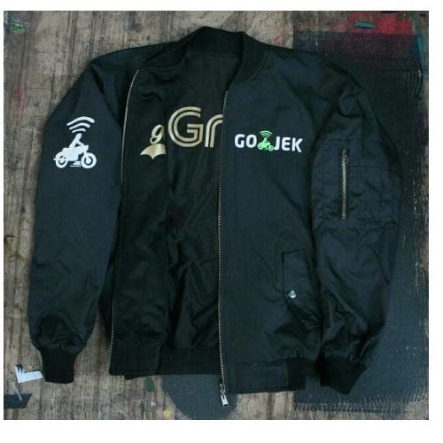 Jaket Bomber Bolak Balik Double Job Gojek Grab Gold